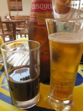 Chicha morada and Cusqueña Dorada beer
